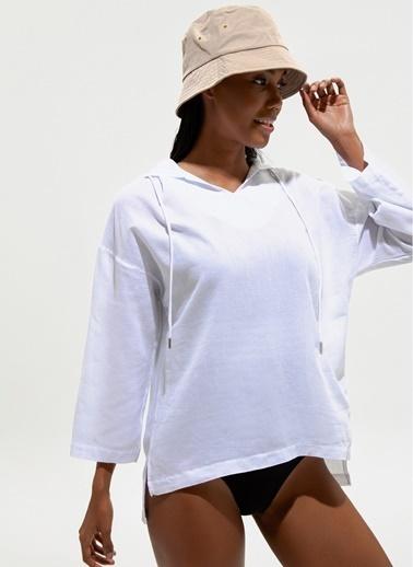Loves You Kapüşonlu Truvakar Kol Armürlü Gömlek Beyaz